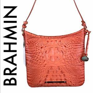 BRAHMIN NWT SALMON PINK LEATHER CROSSBODY BAG